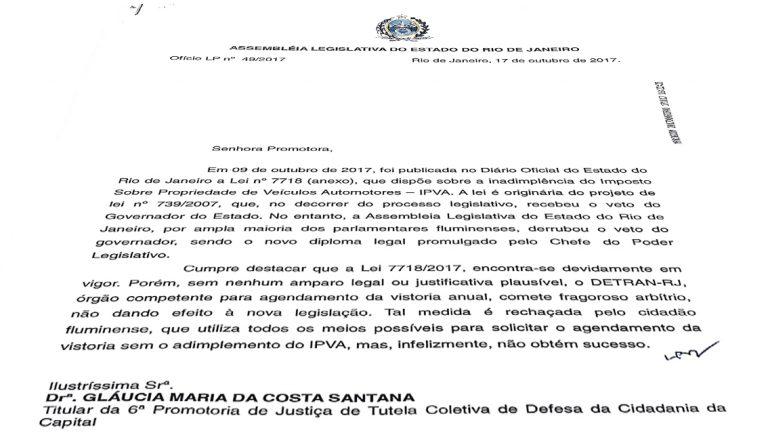 Lei que autoriza a vistoria sem pagamento do IPVA deve ser cumprida