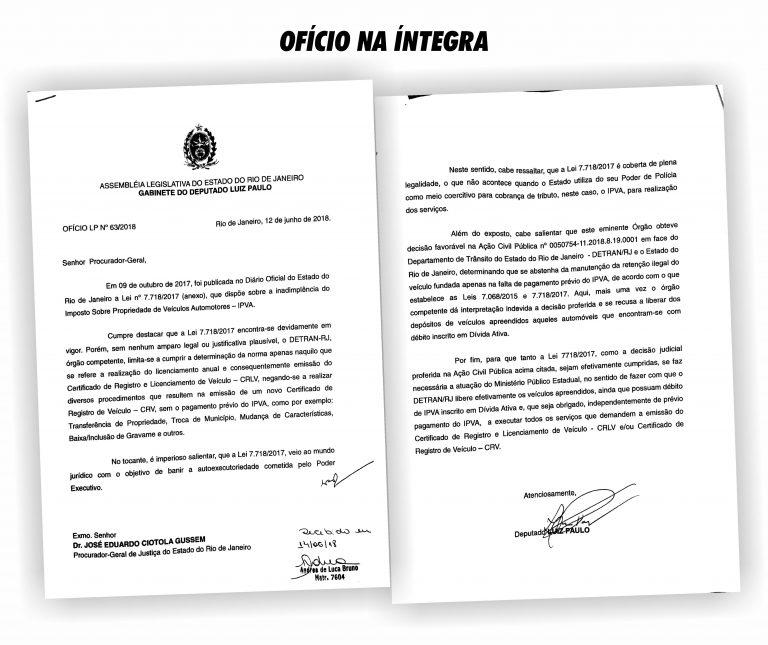 Luiz Paulo vai ao MP e pede o cumprimento integral da lei da vistoria sem IPVA