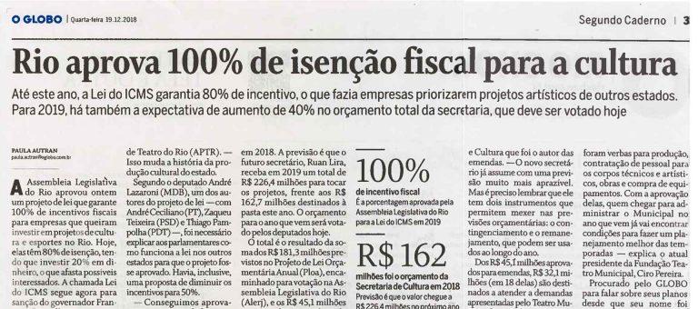Cultura, Turismo, programa Segurança Presente foram priorizados pelo deputado Luiz Paulo no Orçamento do Estado para 2019
